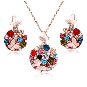 Rainbow Color Butterfly Necklace